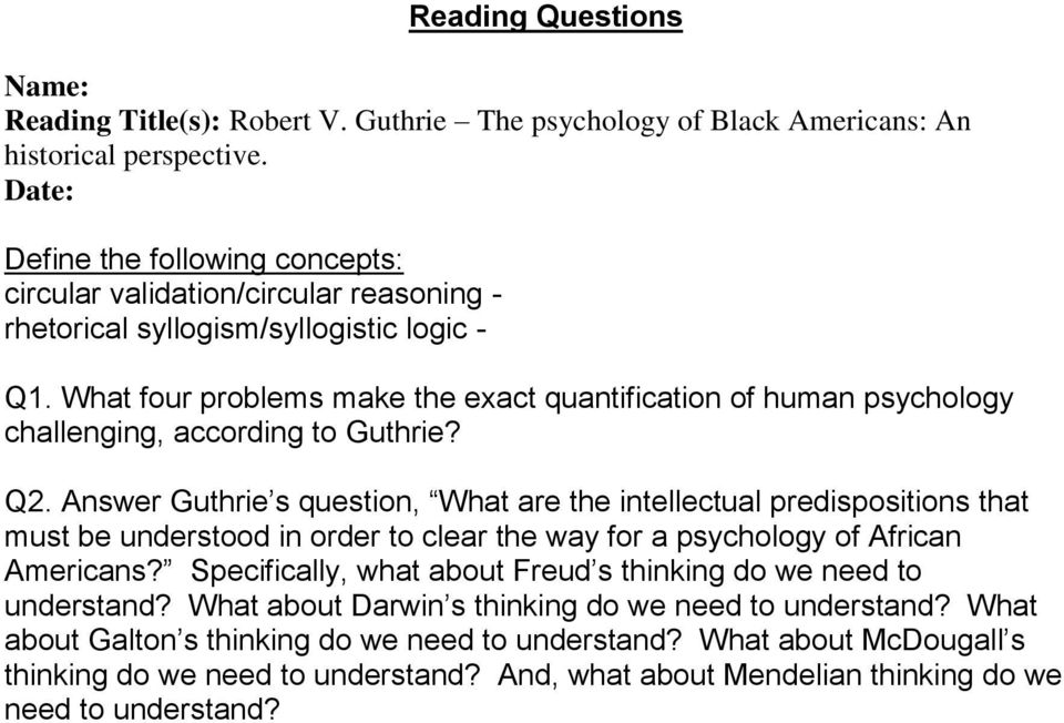 What four problems make the exact quantification of human psychology challenging, according to Guthrie? Q2.