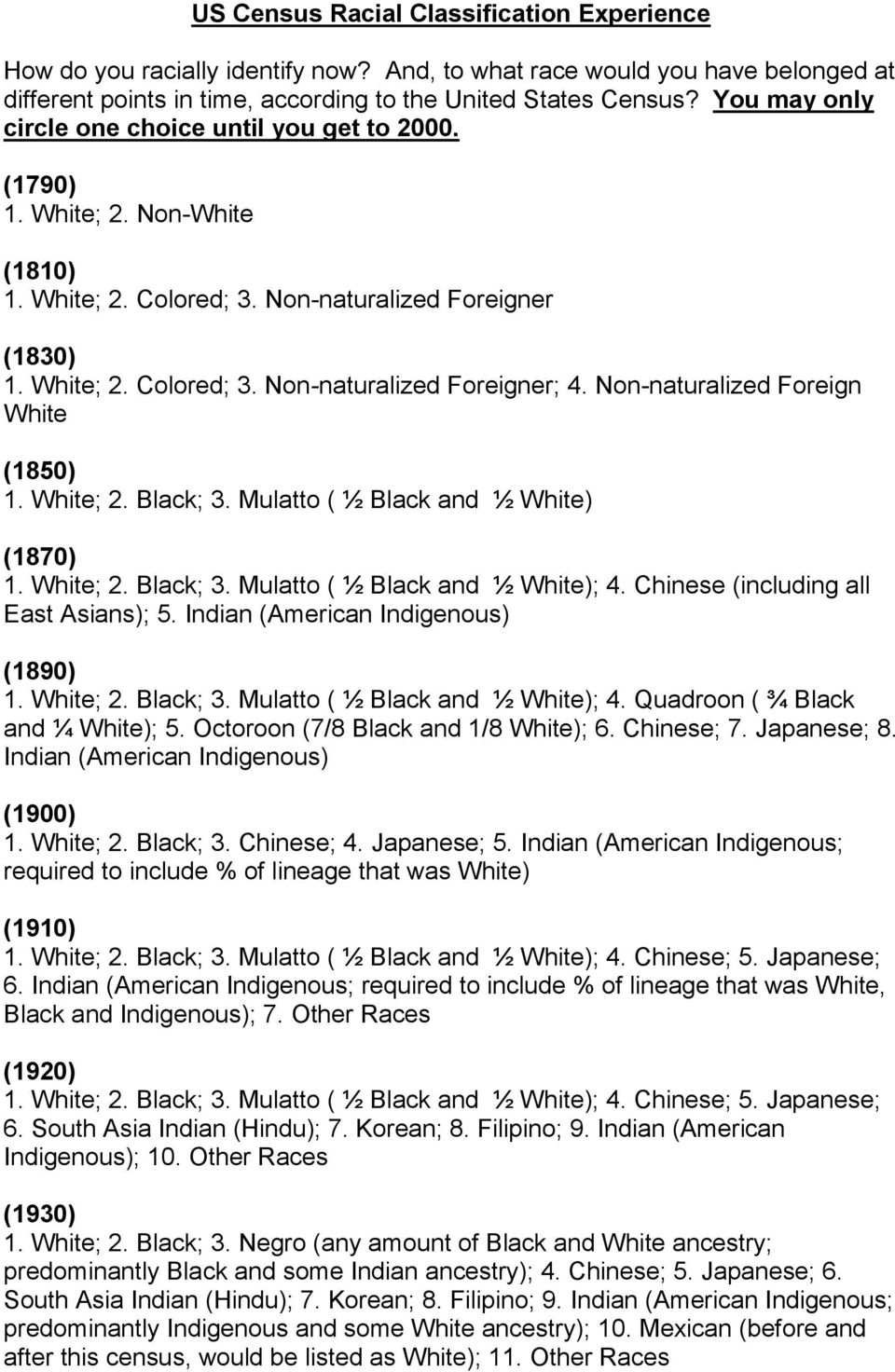 Non-naturalized Foreign White (1850) 1. White; 2. Black; 3. Mulatto ( ½ Black and ½ White) (1870) 1. White; 2. Black; 3. Mulatto ( ½ Black and ½ White); 4. Chinese (including all East Asians); 5.