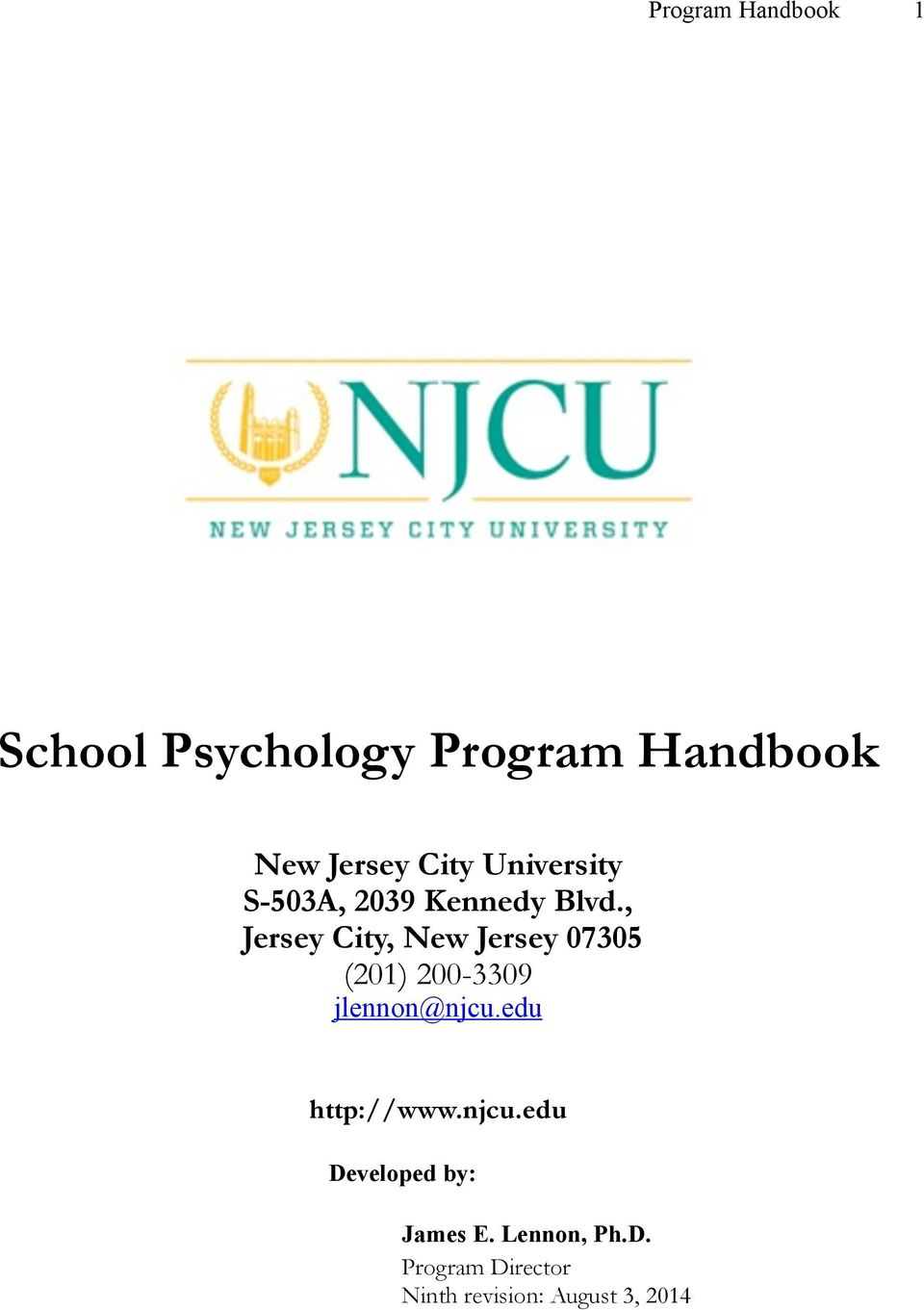 , Jersey City, New Jersey 07305 (201) 200-3309 jlennon@njcu.