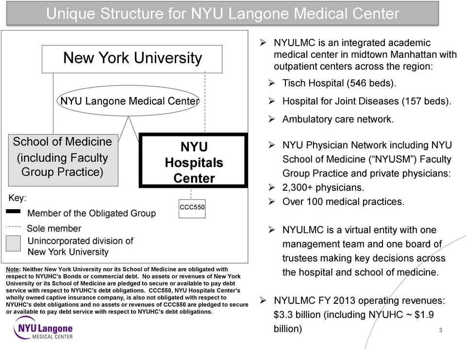 No assets or revenues of New York University or its School of Medicine are pledged to secure or available to pay debt service with respect to NYUHC s debt obligations.