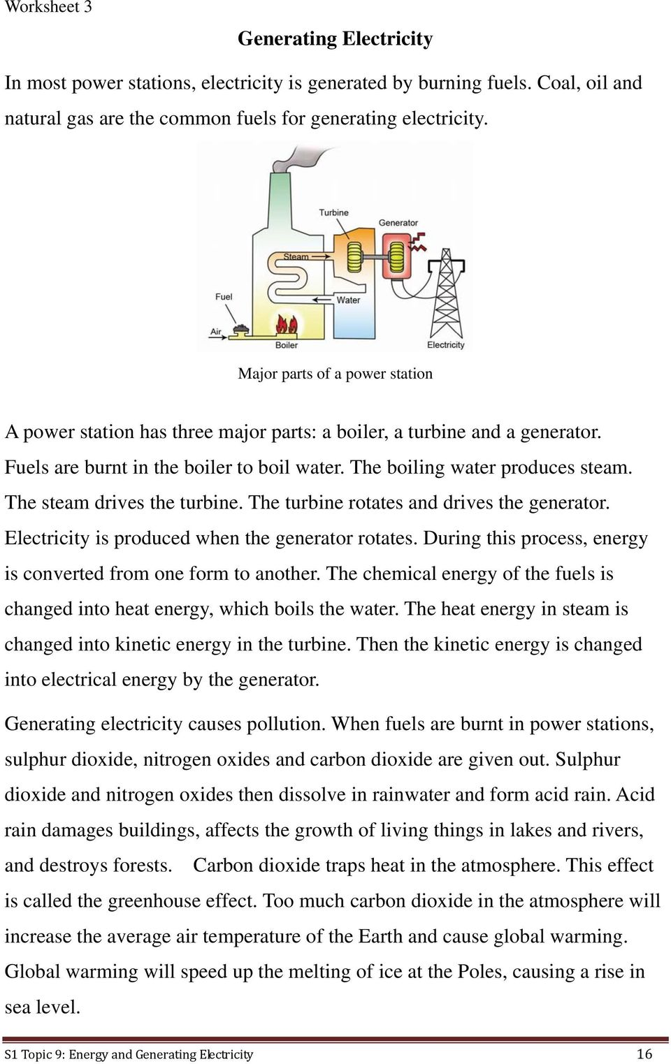 The steam drives the turbine. The turbine rotates and drives the generator. Electricity is produced when the generator rotates. During this process, energy is converted from one form to another.