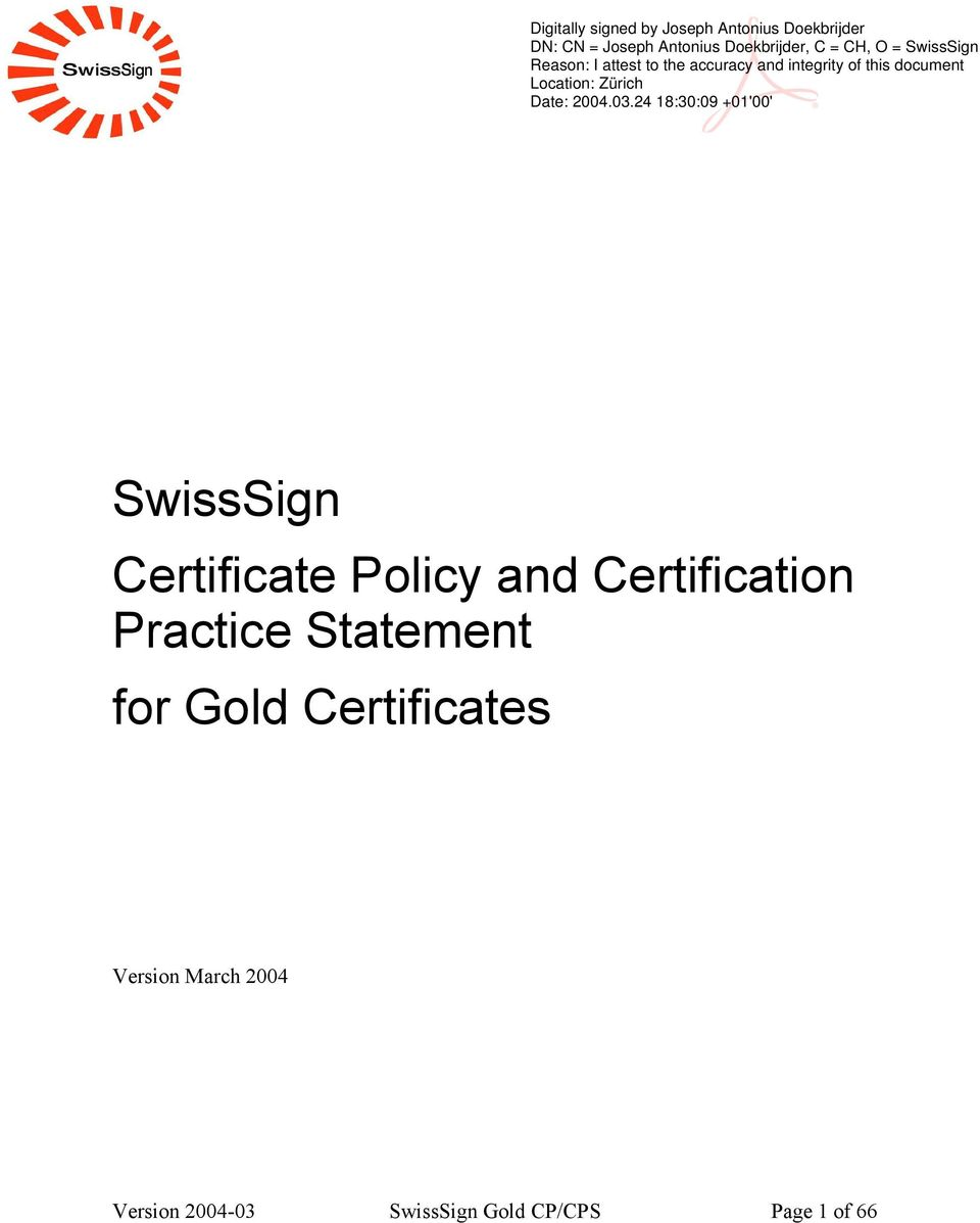 Gold Certificates Version March 2004
