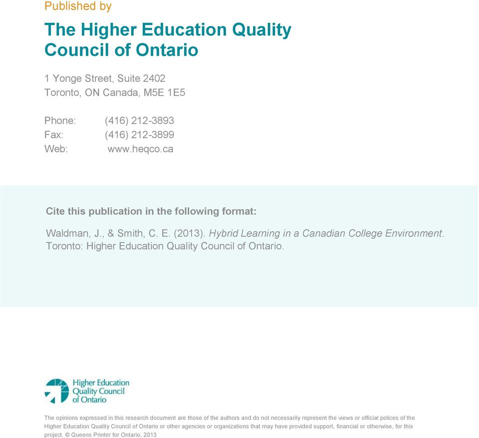 ca Higher Education Quality Council of Ontario.