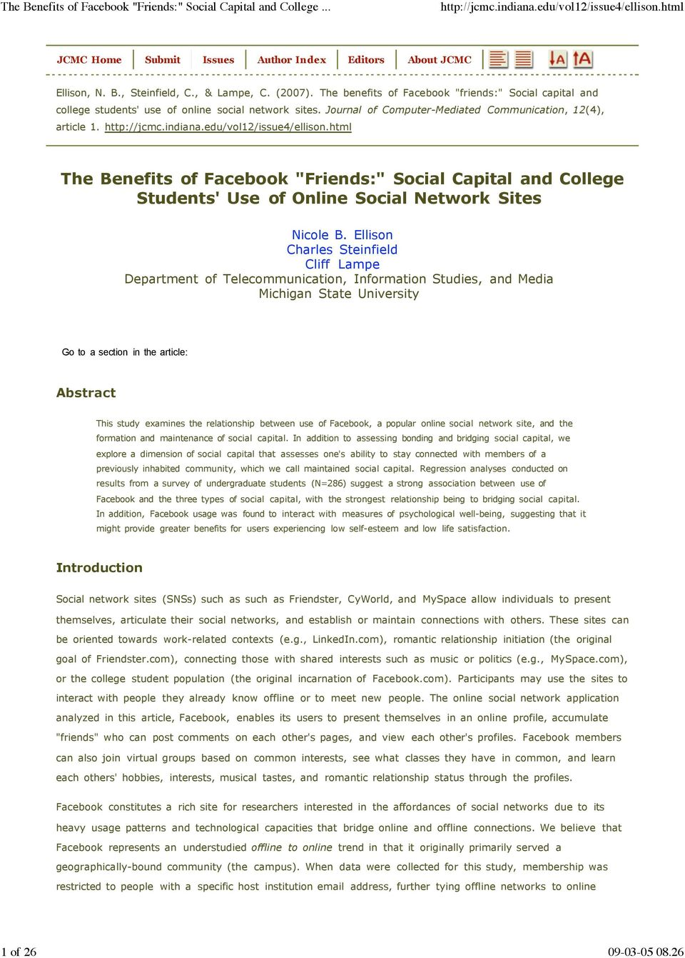 "The Benefits of Facebook ""Friends:"" Social Capital and College Students' Use of Online Social Network Sites Nicole B."