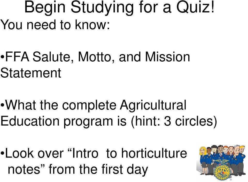 Statement What the complete Agricultural l Education