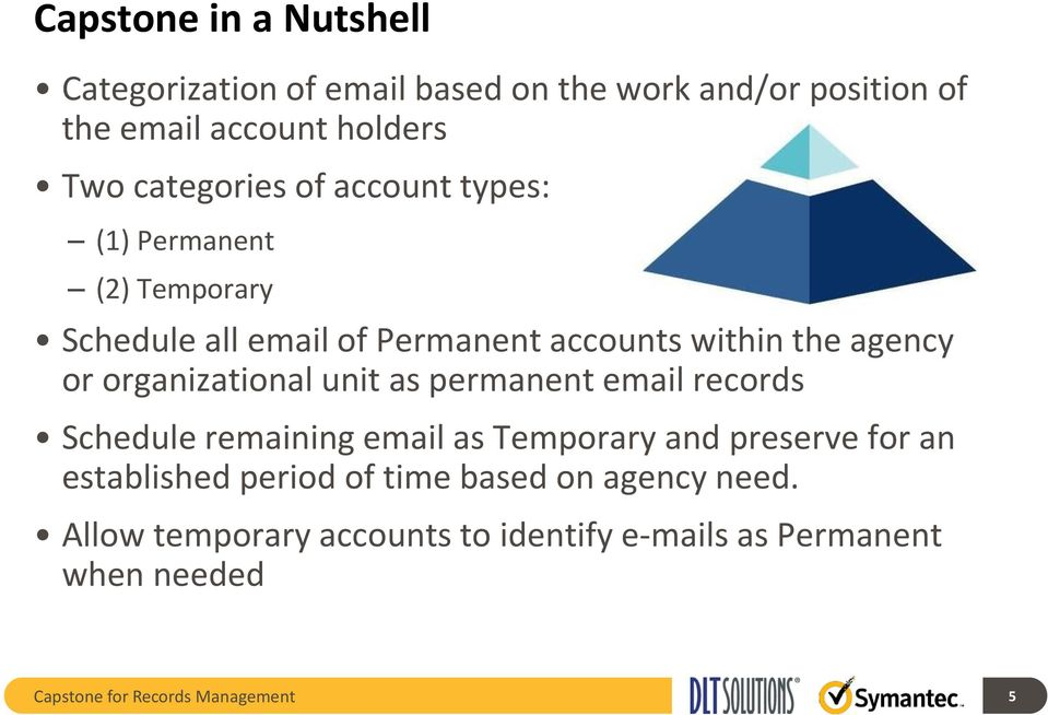 organizational unit as permanent email records Schedule remaining email as Temporary and preserve for an established