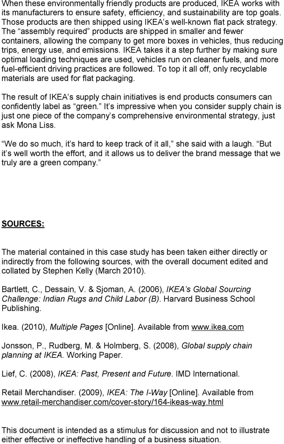 Ikea's Global Sourcing Challenge