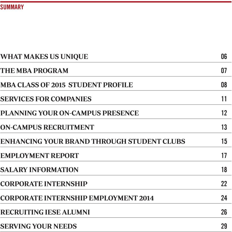 ENHANCING YOUR BRAND THROUGH STUDENT CLUBS 15 EMPLOYMENT REPORT 17 SALARY INFORMATION 18