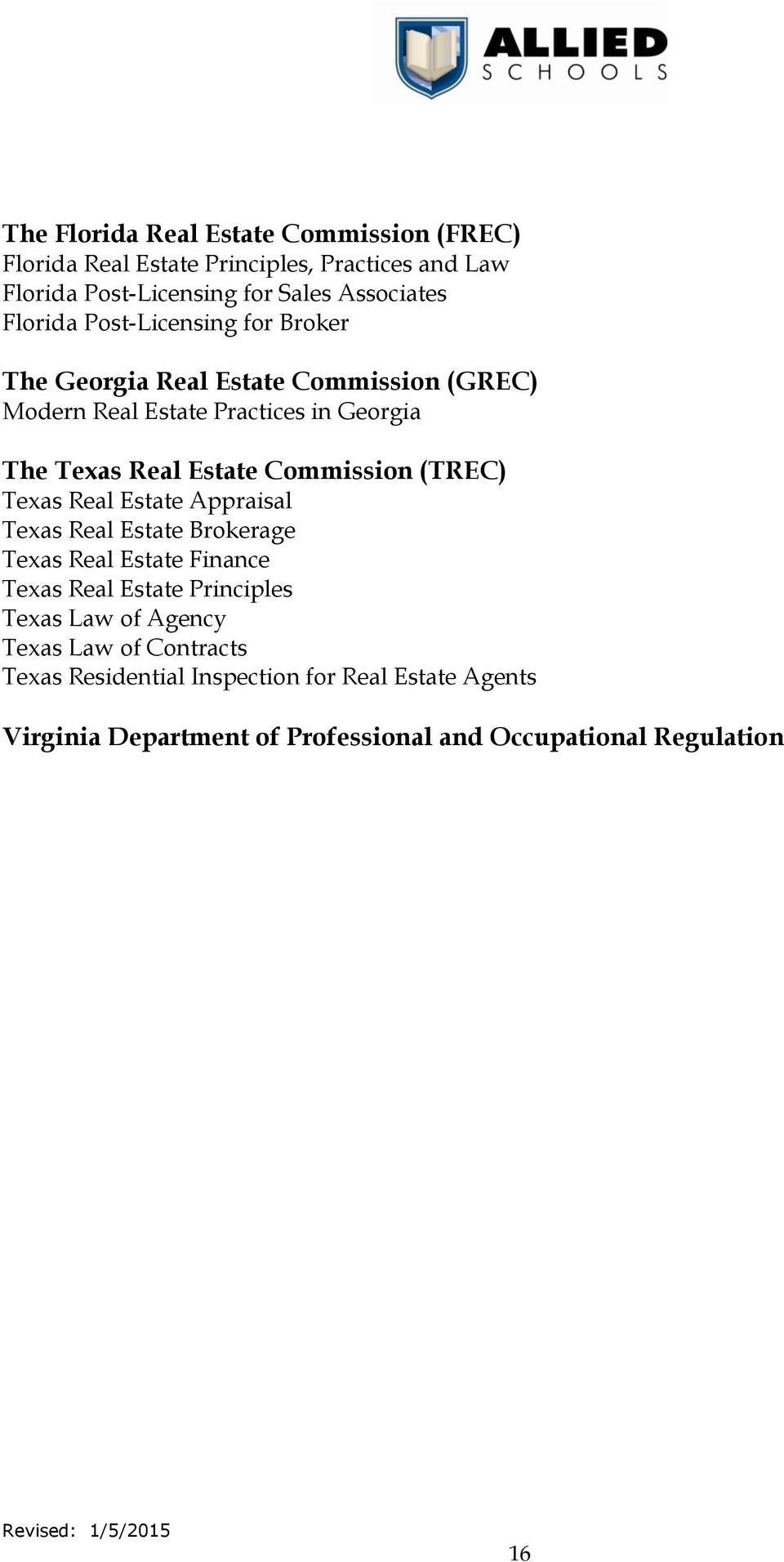 Commission (TREC) Texas Real Estate Appraisal Texas Real Estate Brokerage Texas Real Estate Finance Texas Real Estate Principles Texas Law