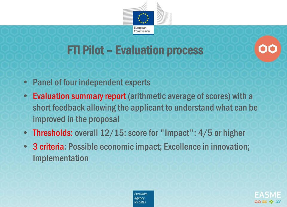 understand what can be improved in the proposal Thresholds: overall 12/15; score for