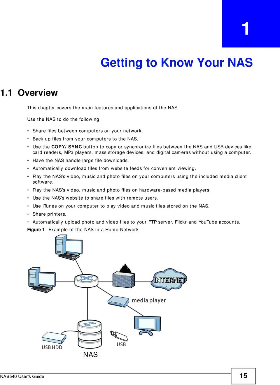 Use the COPY/SYNC button to copy or synchronize files between the NAS and USB devices like card readers, MP3 players, mass storage devices, and digital cameras without using a computer.