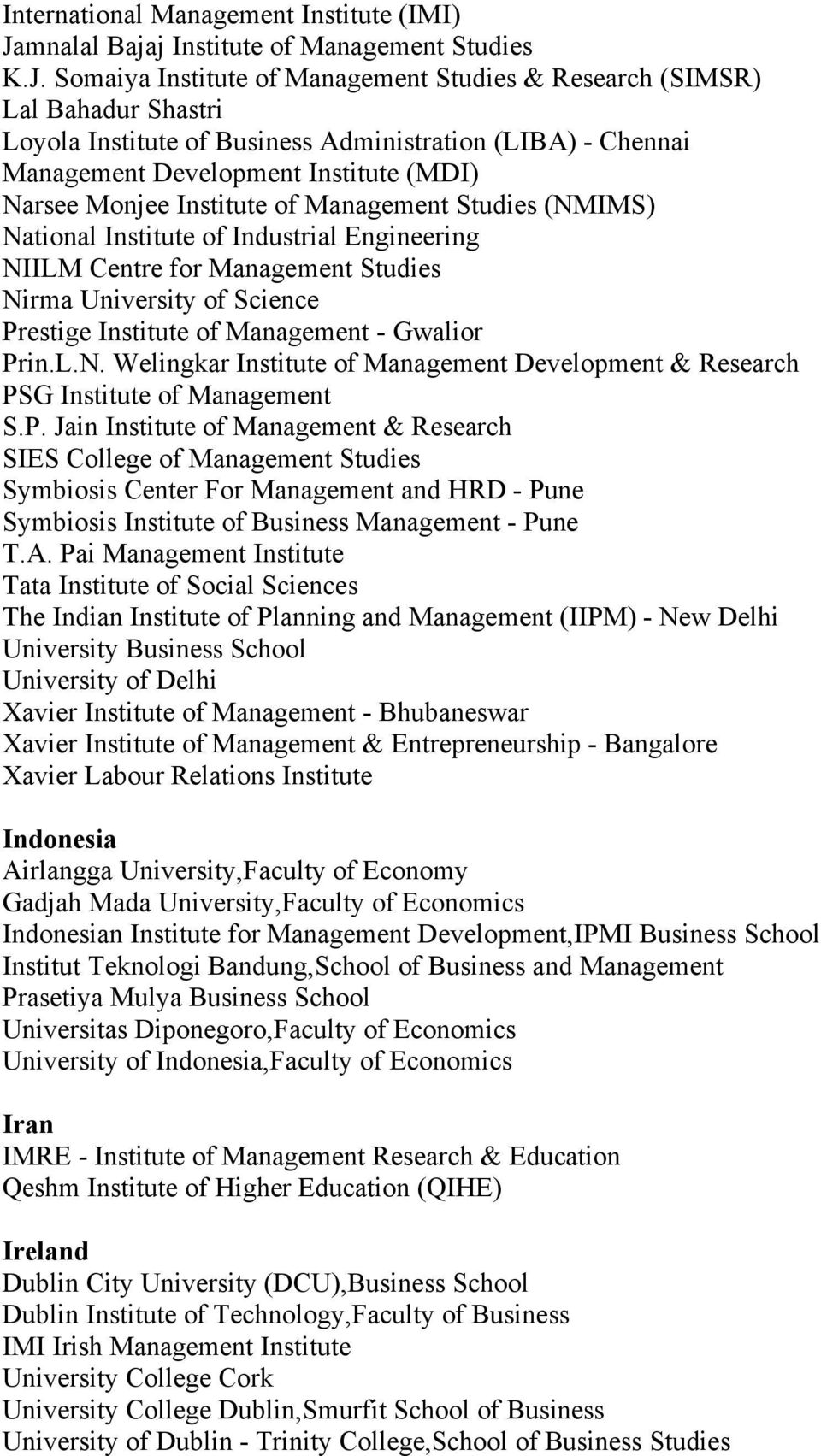 Somaiya Institute of Management Studies & Research (SIMSR) Lal Bahadur Shastri Loyola Institute of Business Administration (LIBA) - Chennai Management Development Institute (MDI) Narsee Monjee