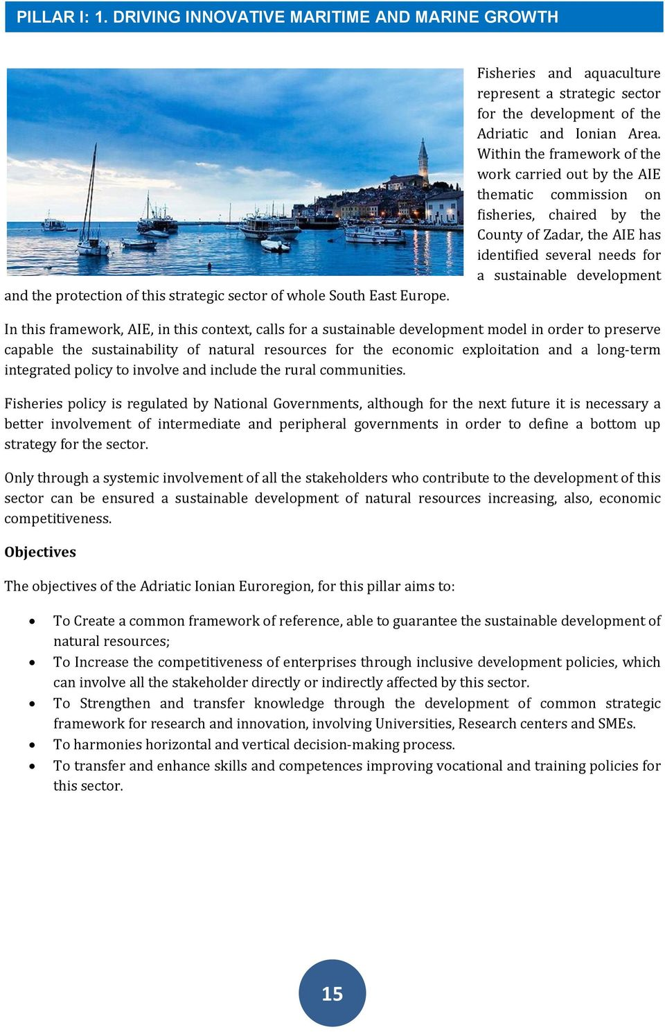 Within the framework of the work carried out by the AIE thematic commission on fisheries, chaired by the County of Zadar, the AIE has identified several needs for a sustainable development In this
