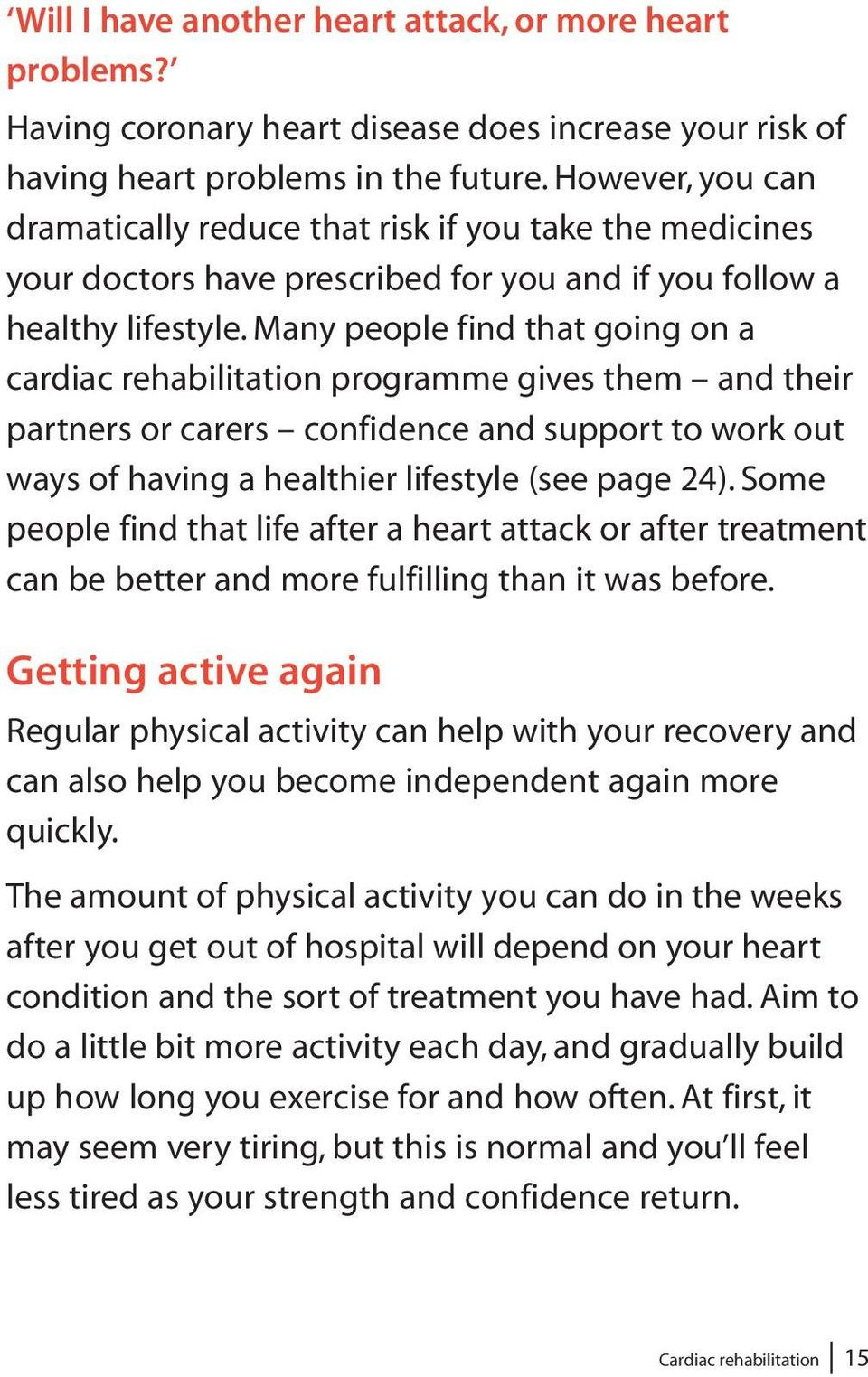 Many people find that going on a cardiac rehabilitation programme gives them and their partners or carers confidence and support to work out ways of having a healthier lifestyle (see page 24).