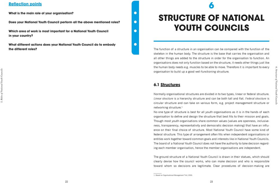 Roles of National Youth Councils What different actions does your National Youth Council do to embody the different roles?