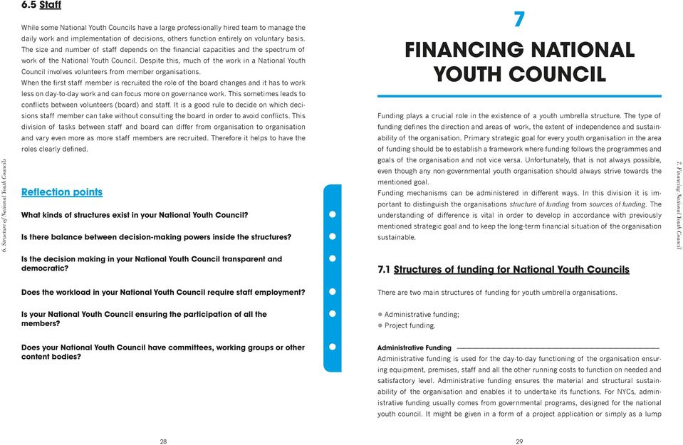 The size and number of staff depends on the financial capacities and the spectrum of work of the National Youth Council.