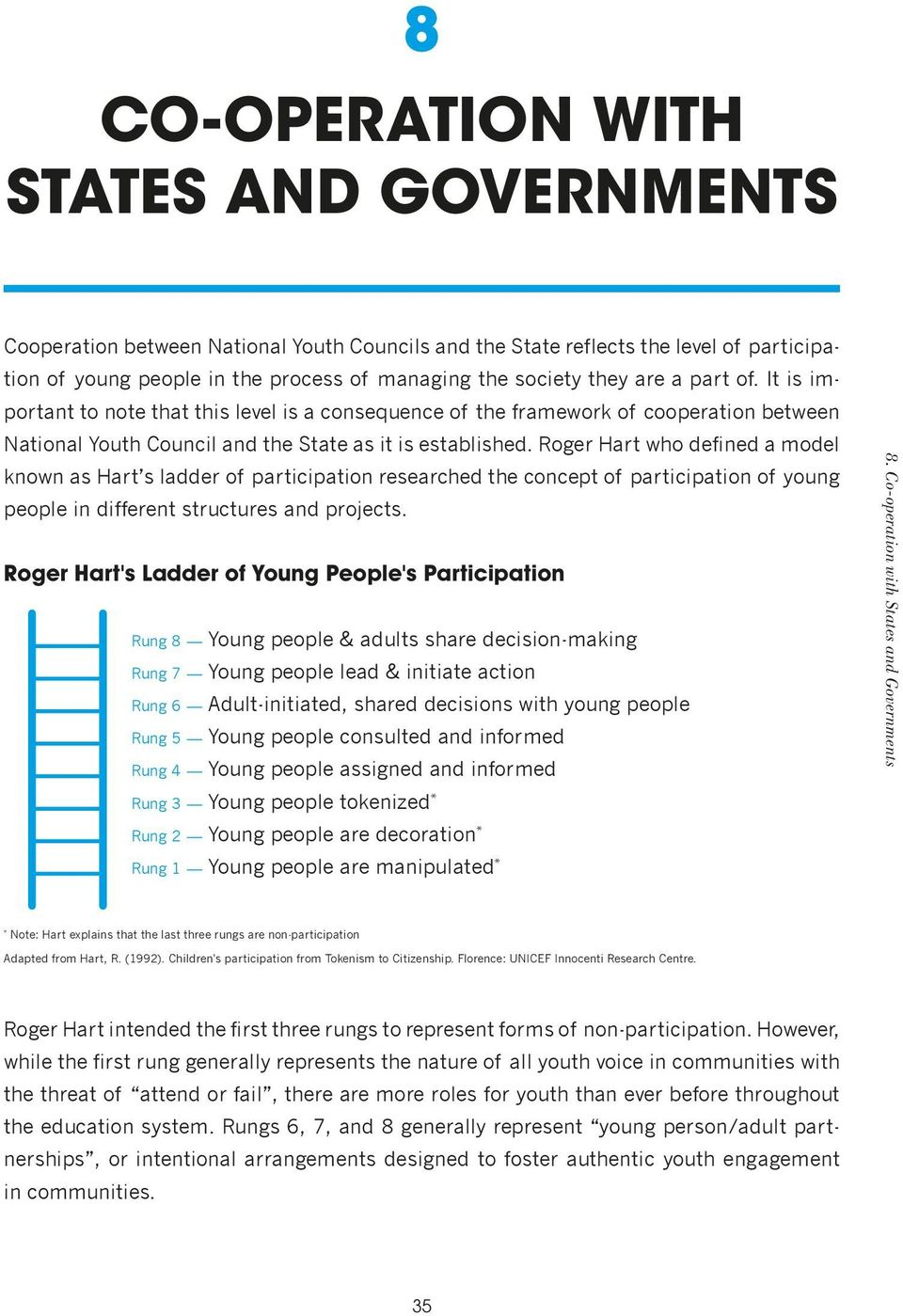 Roger Hart who defined a model known as Hart s ladder of participation researched the concept of participation of young people in different structures and projects.