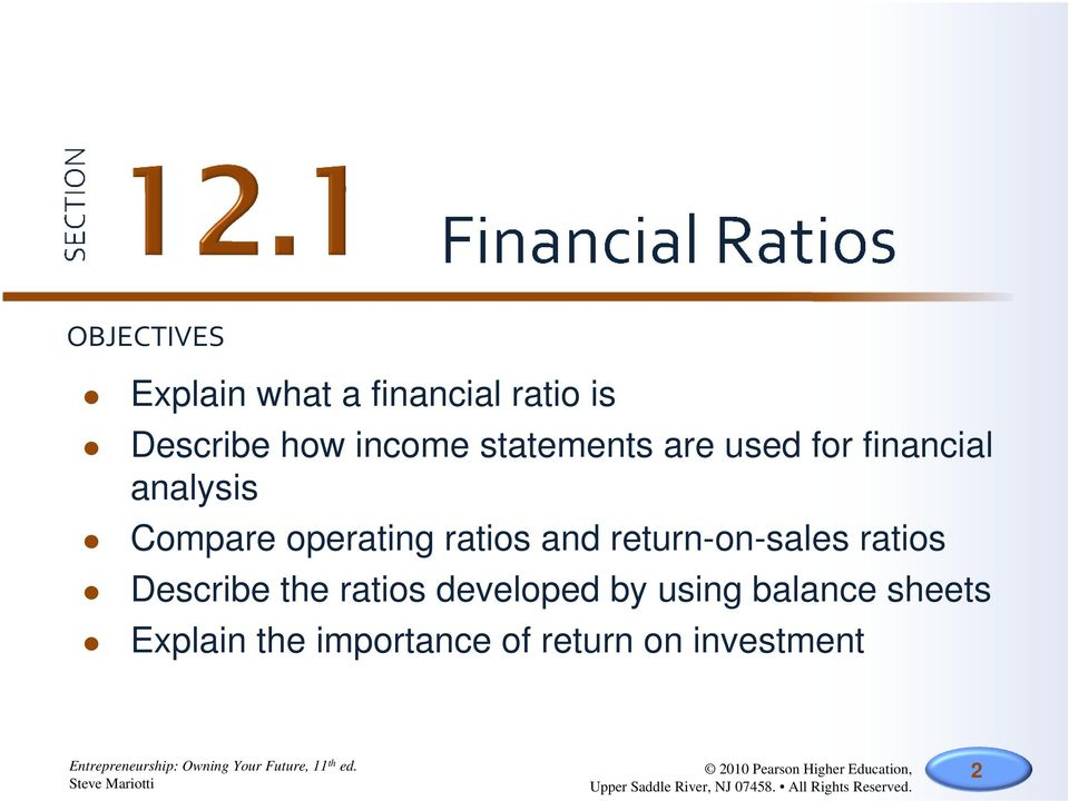 Section 121 Financial Ratios Section 122 BreakEven Analysis PDF – Financial Ratios Analysis