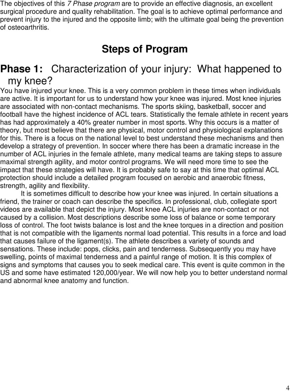 Steps of Program Phase 1: Characterization of your injury: What happened to my knee? You have injured your knee. This is a very common problem in these times when individuals are active.