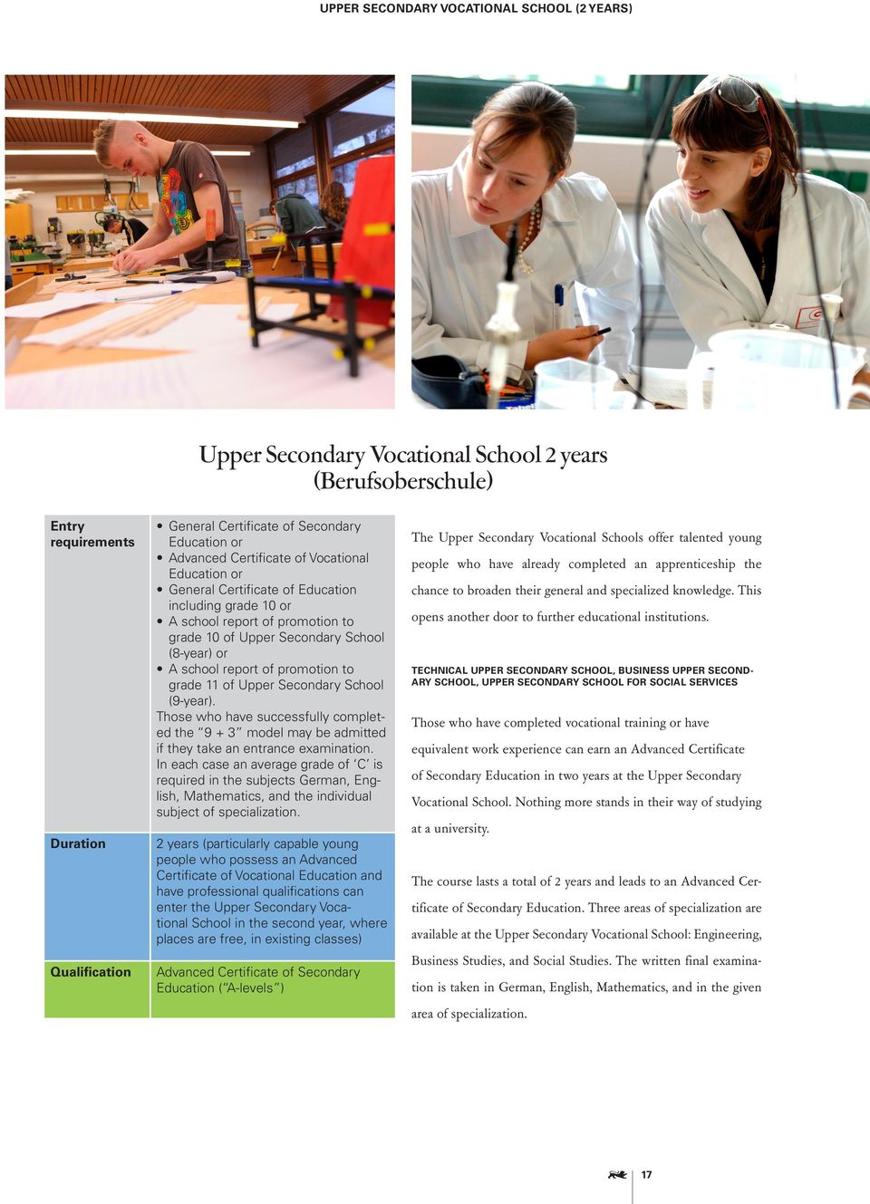 of promotion to grade 11 of Upper Secondary School (9-year). Those who have successfully completed the 9 + 3 model may be admitted if they take an entrance examination.