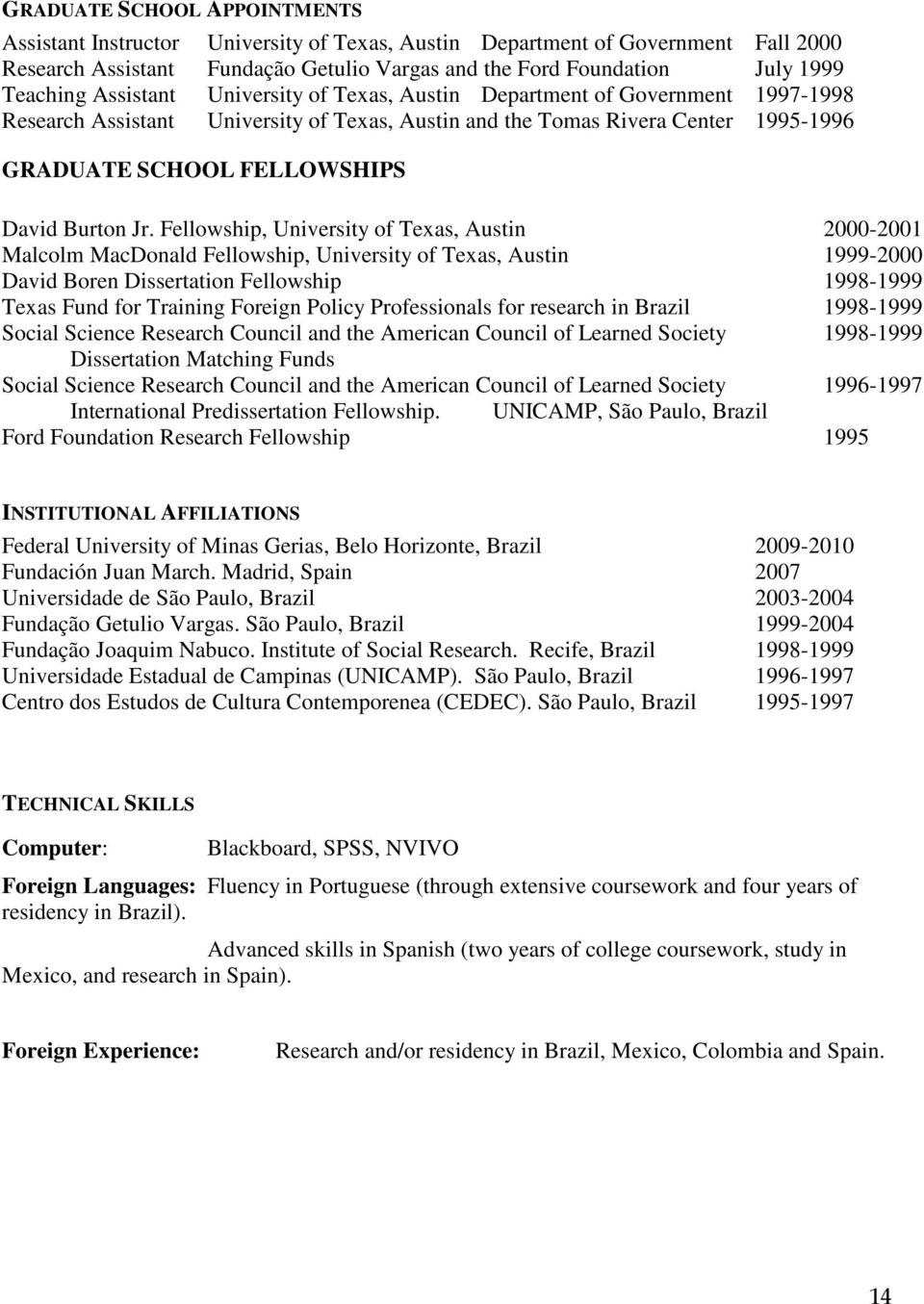 Jr. Fellowship, University of Texas, Austin 2000-2001 Malcolm MacDonald Fellowship, University of Texas, Austin 1999-2000 David Boren Dissertation Fellowship 1998-1999 Texas Fund for Training Foreign