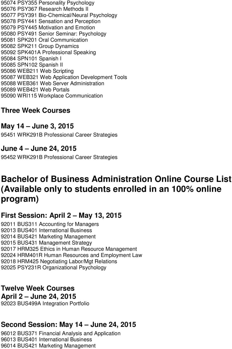 95087 WEB321 Web Application Development Tools 95088 WEB361 Web Server Administration 95089 WEB421 Web Portals 95090 WRI115 Workplace Communication Three Week Courses May 14 June 3, 2015 95451