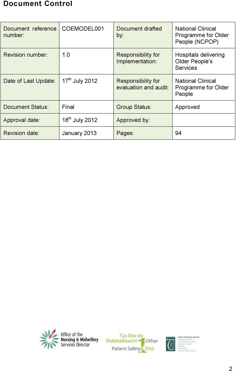 0 Responsibility for Implementation: Date of Last Update: 17 th July 2012 Responsibility for evaluation and audit: