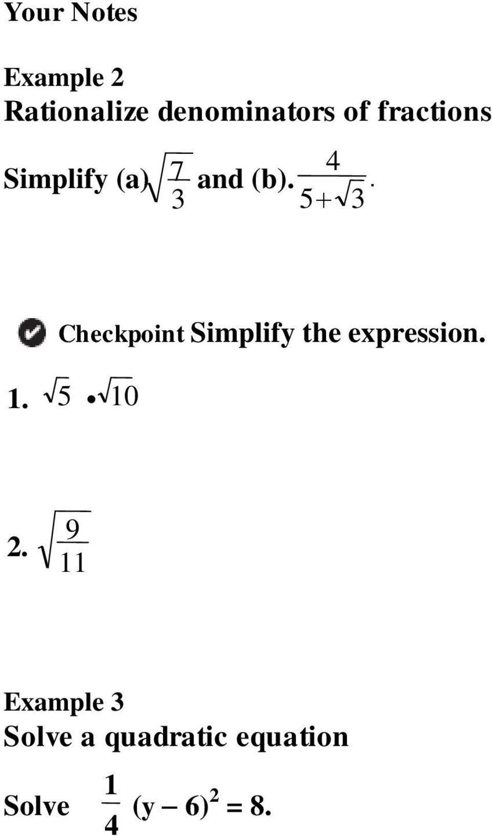 Checkpoint Simplify the expression. 1. 5 10 2.