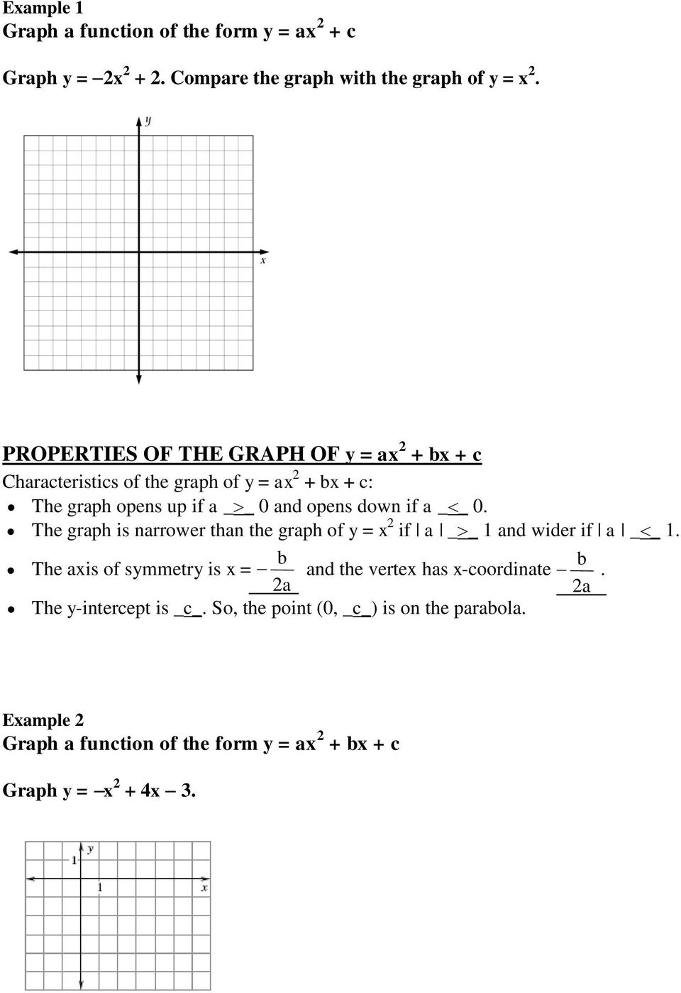 ALGEBRA 2 41 Graph Quadratic Functions in Standard Form PDF – Graphing Parabolas Worksheet