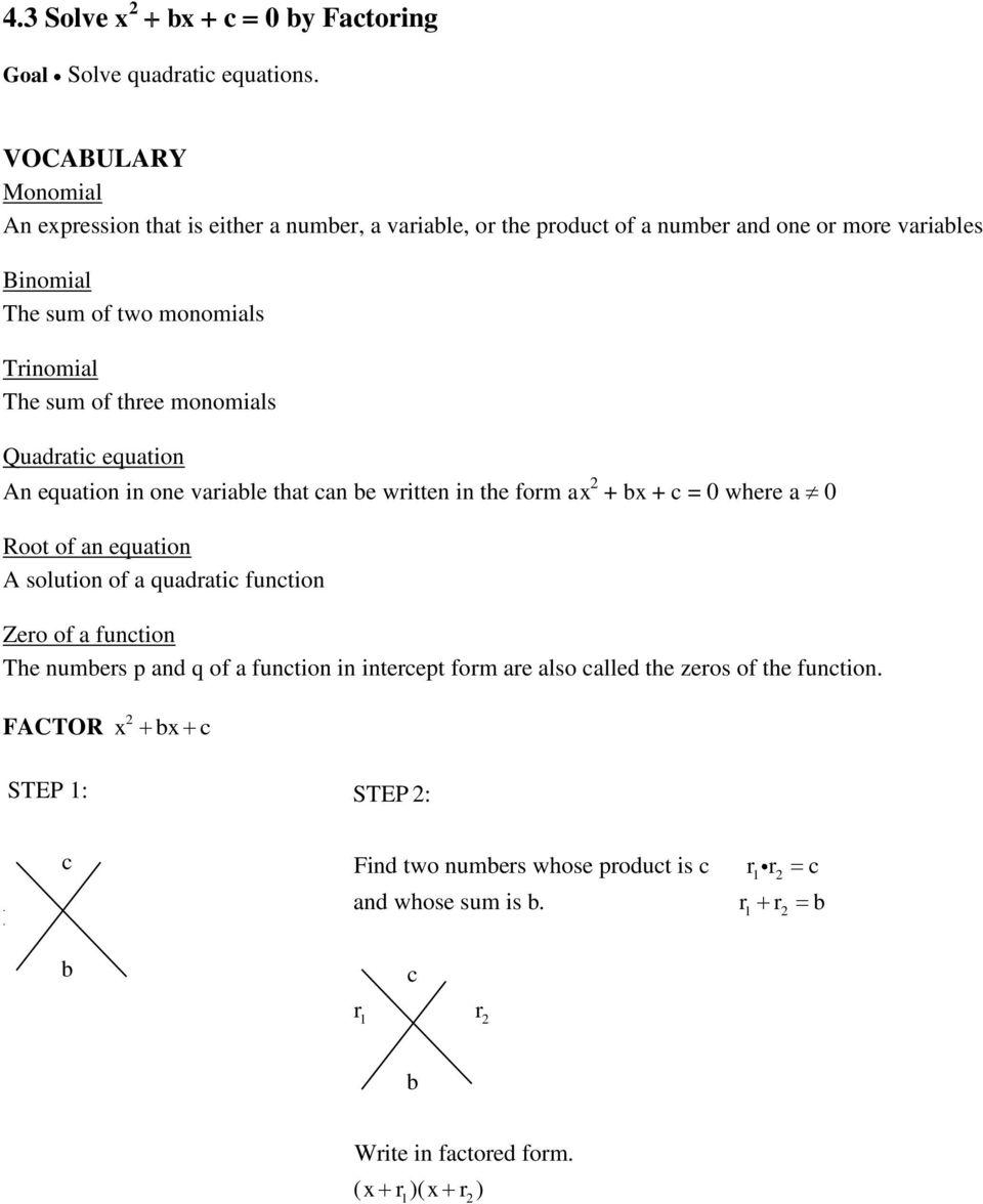 Solving Quadratic Equations By Factoring Glencoe Algebra 2 – Solving Quadratic Equations by Graphing Worksheet Answers