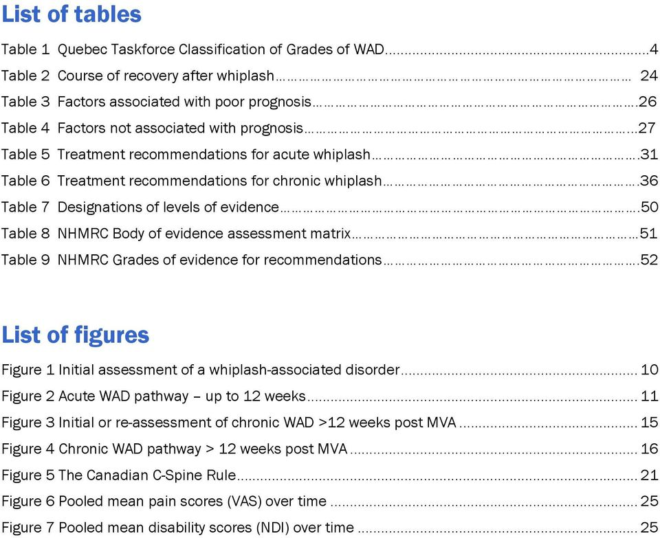 36 Table 7 Designations of levels of evidence.50 Table 8 NHMRC Body of evidence assessment matrix 51 Table 9 NHMRC Grades of evidence for recommendations.