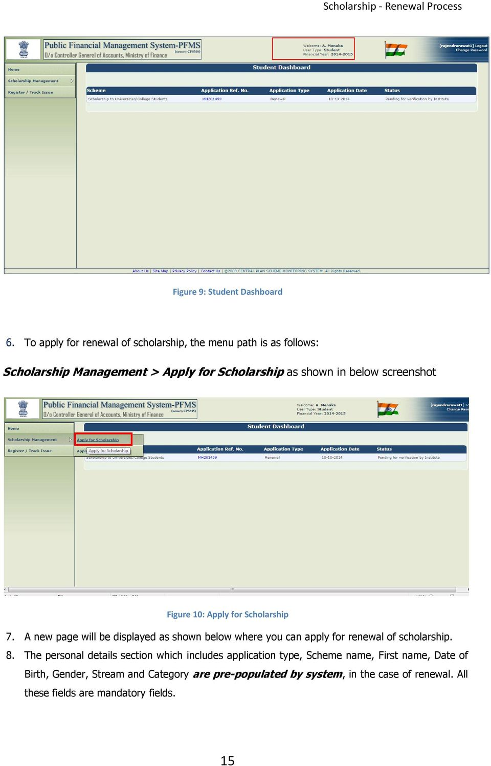 screenshot Figure 10: Apply for Scholarship 7.