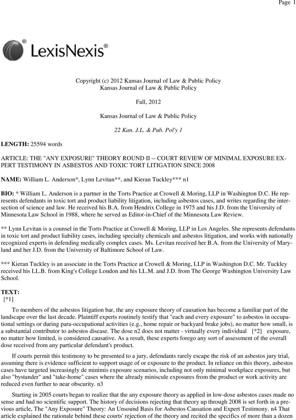 ic Policy Fall, 2012 Kansas Journal of Law & Publ