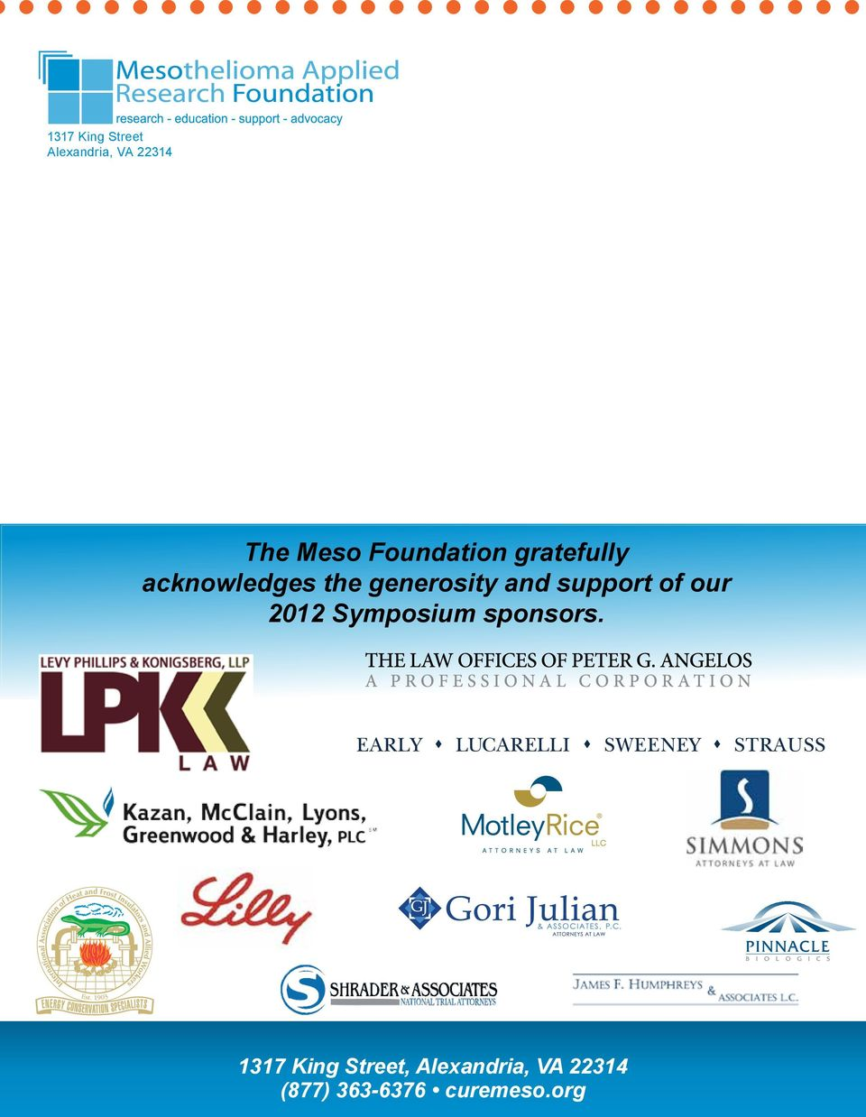 and support of our 2012 Symposium sponsors.