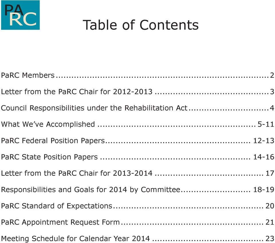 .. 5-11 PaRC Federal Position Papers... 12-13 PaRC State Position Papers.