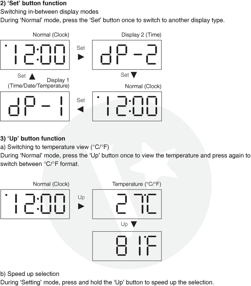 Display (Time/Date/Temperature) p Display 2 (Time) p 2 3) button function a) Switching to temperature view ( C/ F)