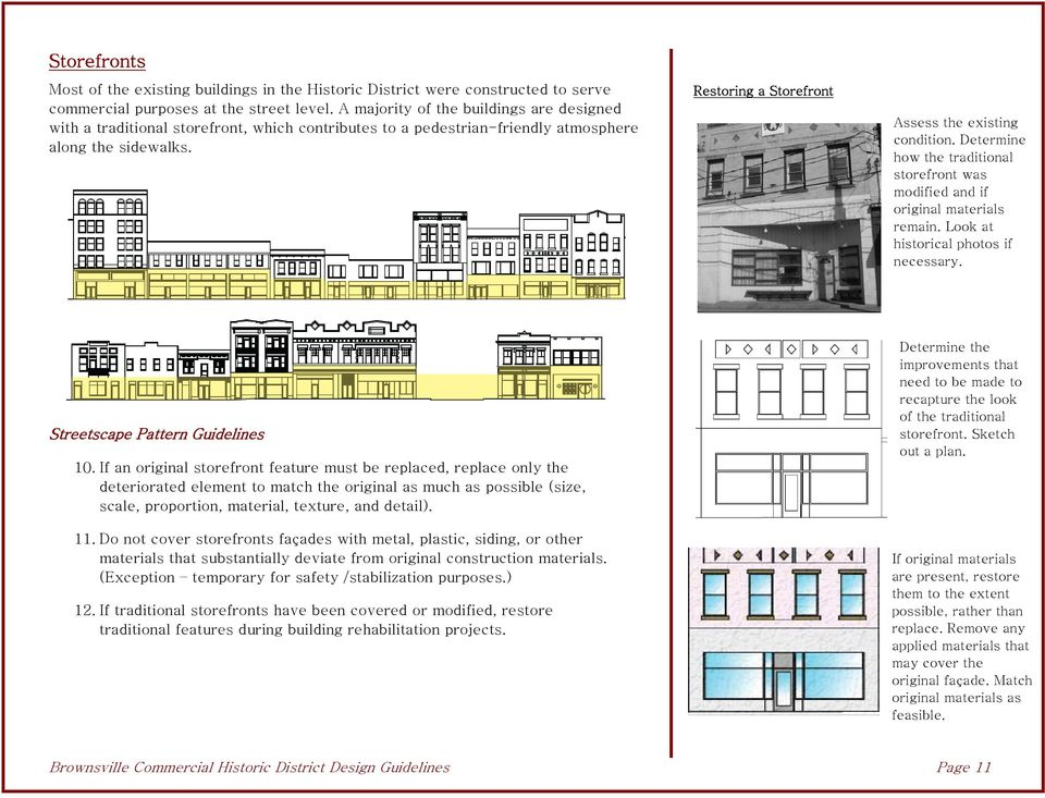Determine how the traditional storefront was modified and if original materials remain. Look at historical photos if necessary. Streetscape Pattern Guidelines 10.