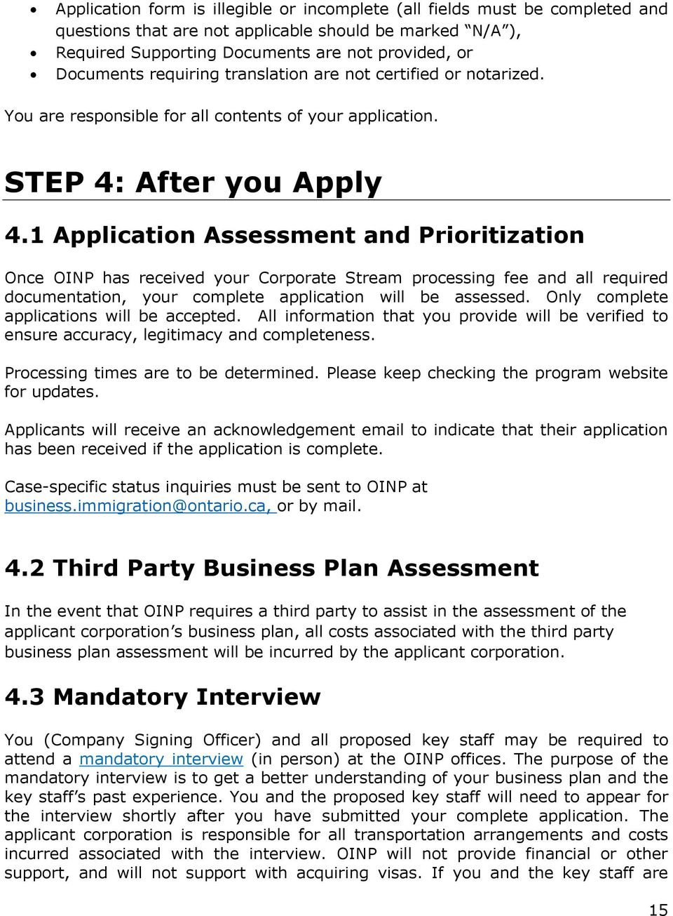 ontario immigrant nominee program corporate stream guide pdf 1 application assessment and prioritization once oinp has received your corporate stream processing fee and all