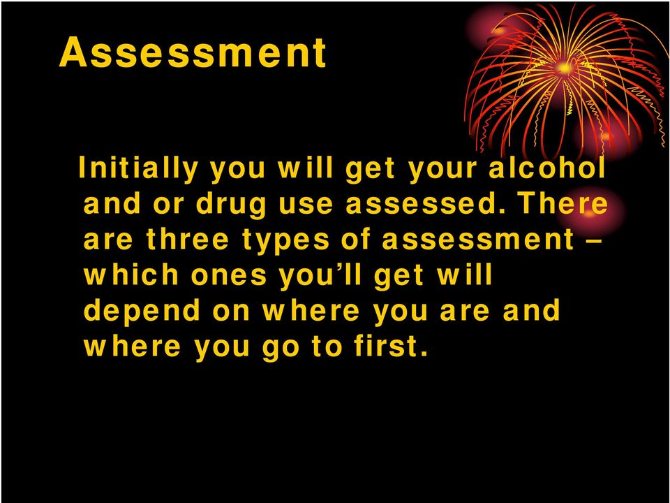 There are three types of assessment which ones