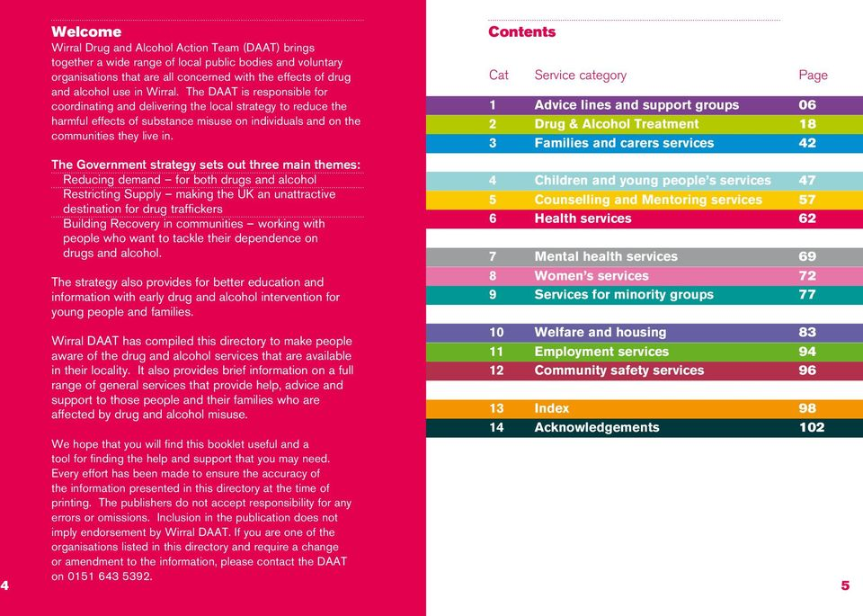 Contents Cat Service category Page 1 Advice lines and support groups 06 2 Drug & Alcohol Treatment 18 3 Families and carers services 42 The Government strategy sets out three main themes: Reducing