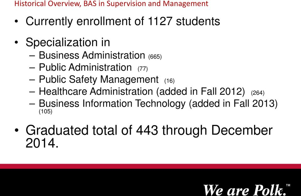 Public Safety Management (16) Healthcare Administration (added in Fall 2012) (264)