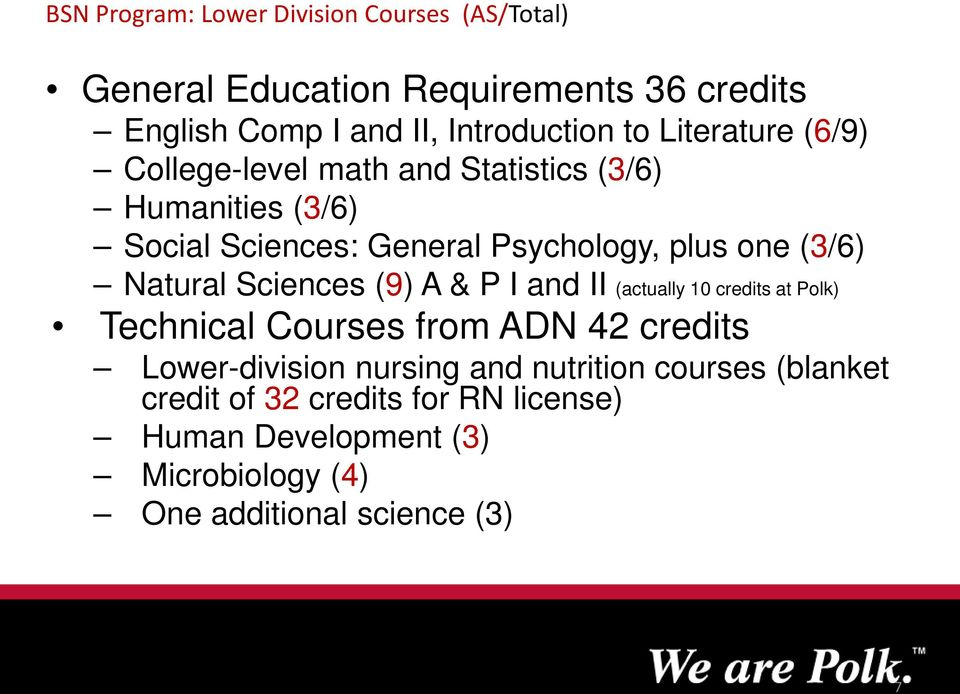 Natural Sciences (9) A & P I and II (actually 10 credits at Polk) Technical Courses from ADN 42 credits Lower-division nursing