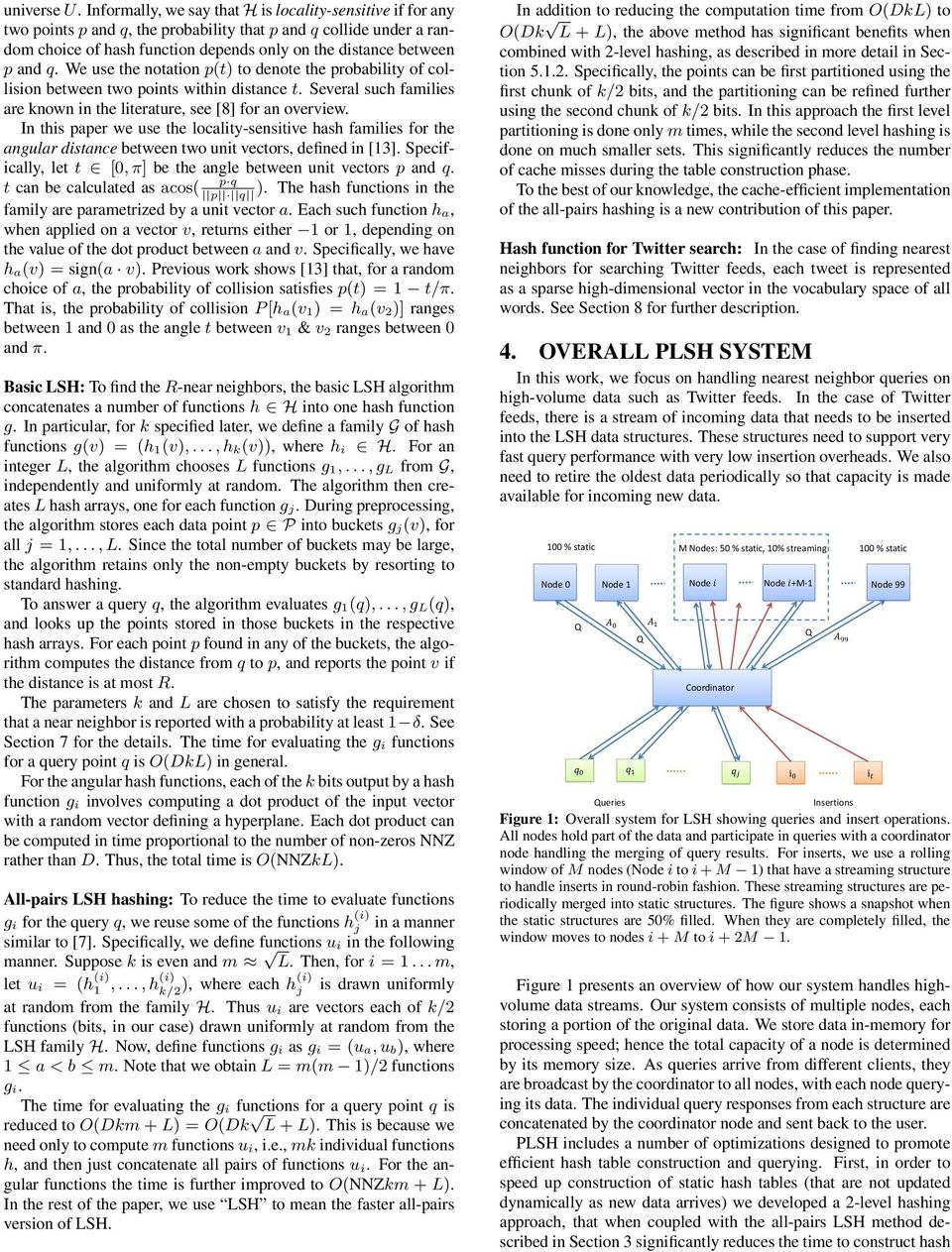 We use the notation p(t) to denote the probability of collision between two points within distance t. Several such families are known in the literature, see [8] for an overview.
