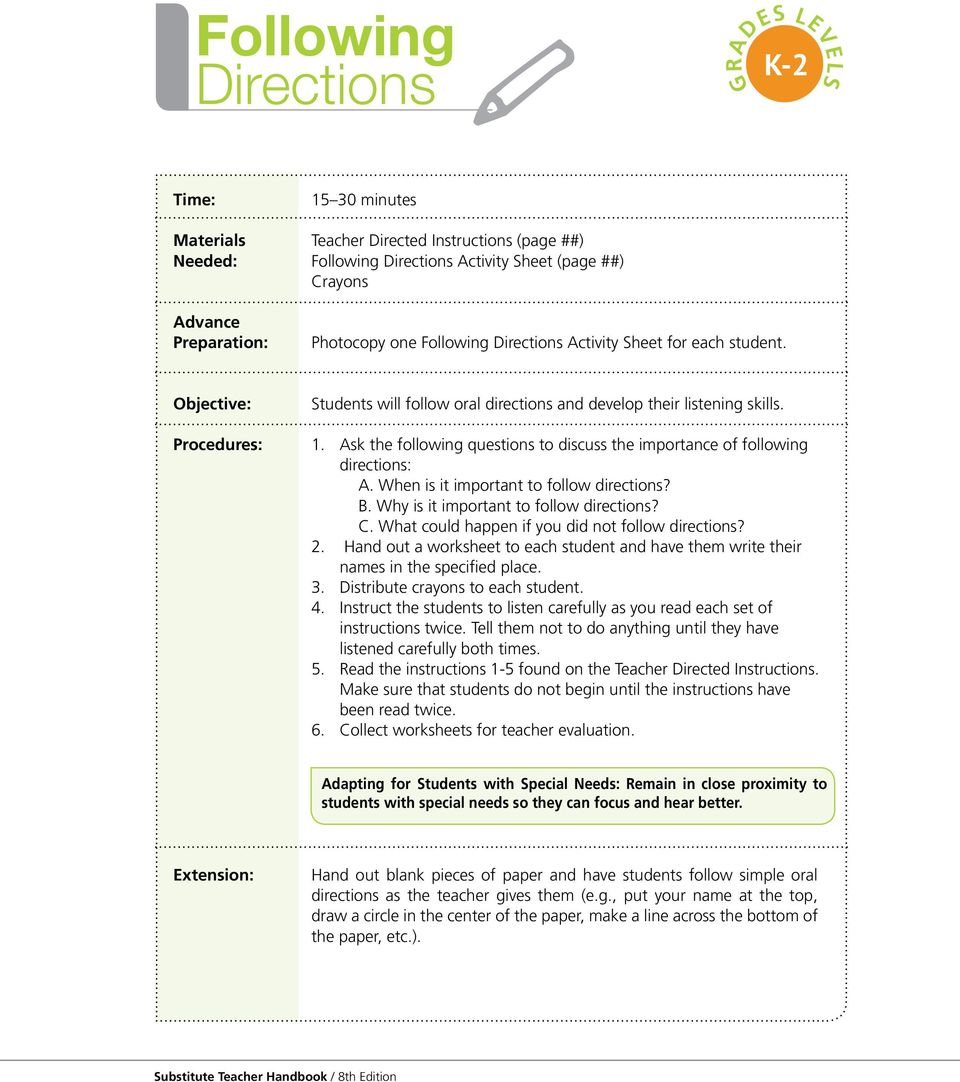 worksheet Follow Directions Worksheet following directions k 2 time minutes pdf ask the questions to discuss importance of a when is