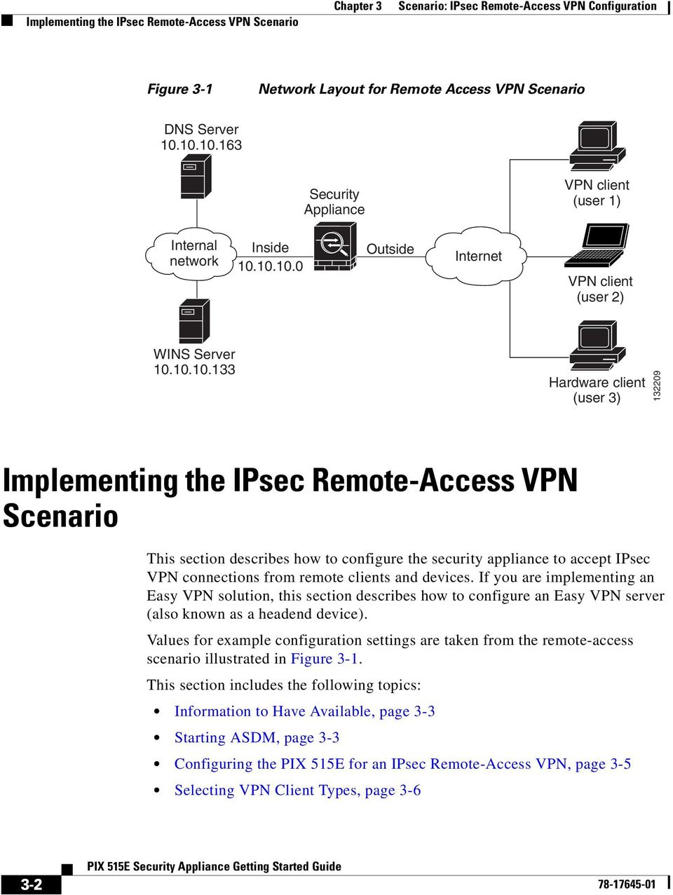 IPsec Remote-Access VPN Scenario This section describes how to configure the security appliance to accept IPsec VPN connections from remote clients and devices.