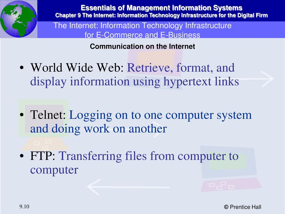 information using hypertext links Telnet: Logging on to one computer system and