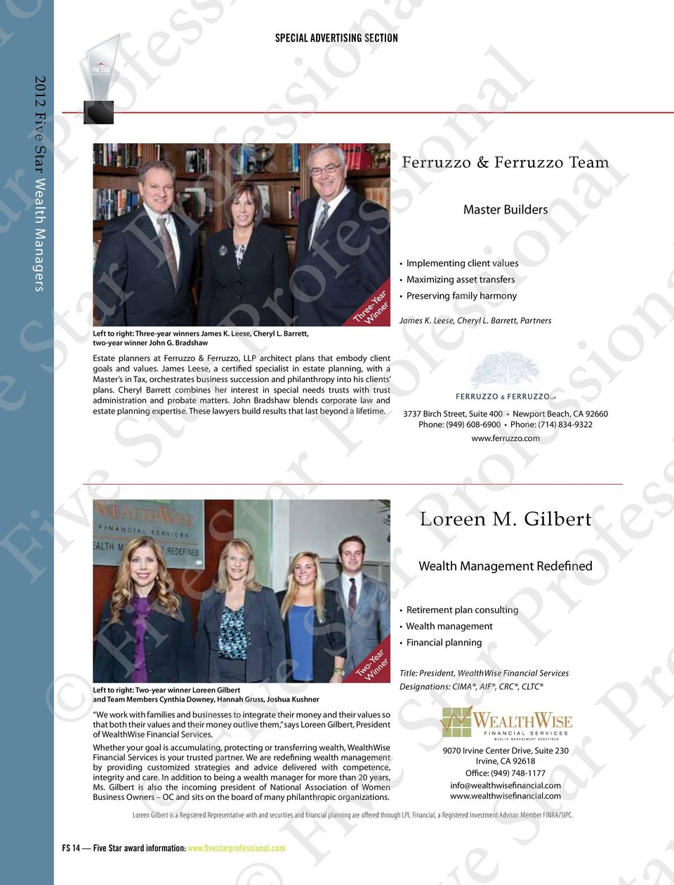 Barrett, Partners Estate planners at Ferruzzo & Ferruzzo, LLP architect plans that embody client goals and values.