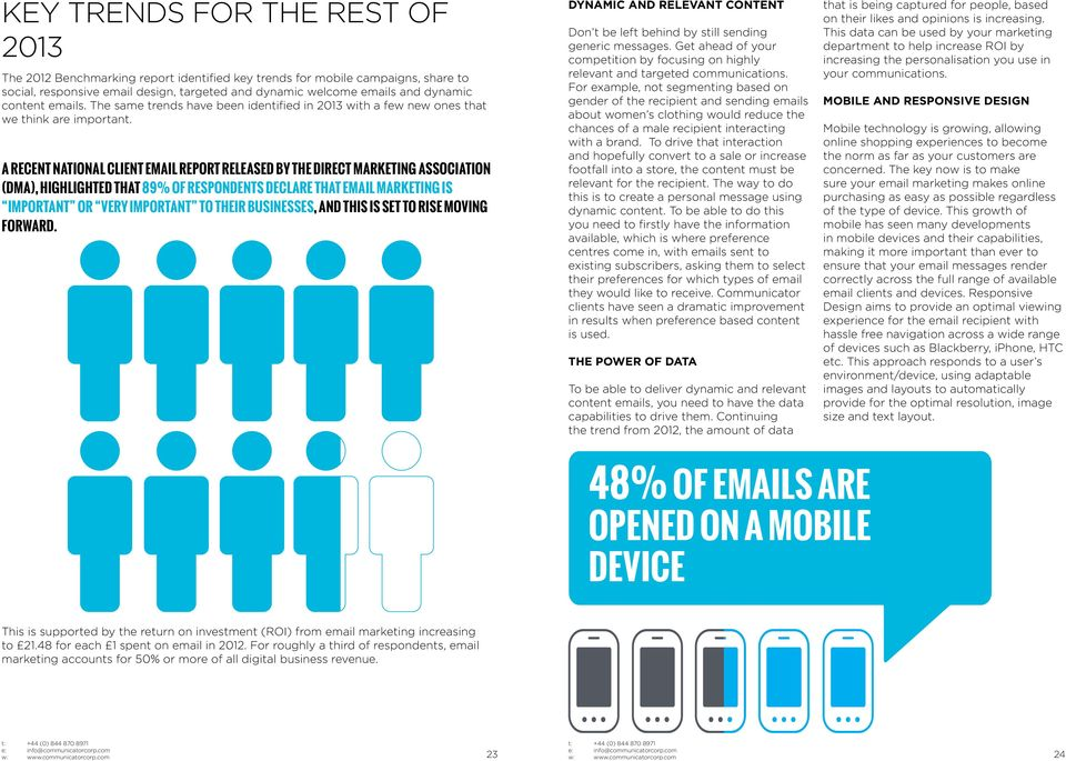 A RECENT NATIONAL CLIENT EMAIL REPORT RELEASED BY THE DIRECT MARKETING ASSOCIATION (DMA), HIGHLIGHTED THAT 89% OF RESPONDENTS DECLARE THAT EMAIL MARKETING IS IMPORTANT OR VERY IMPORTANT TO THEIR