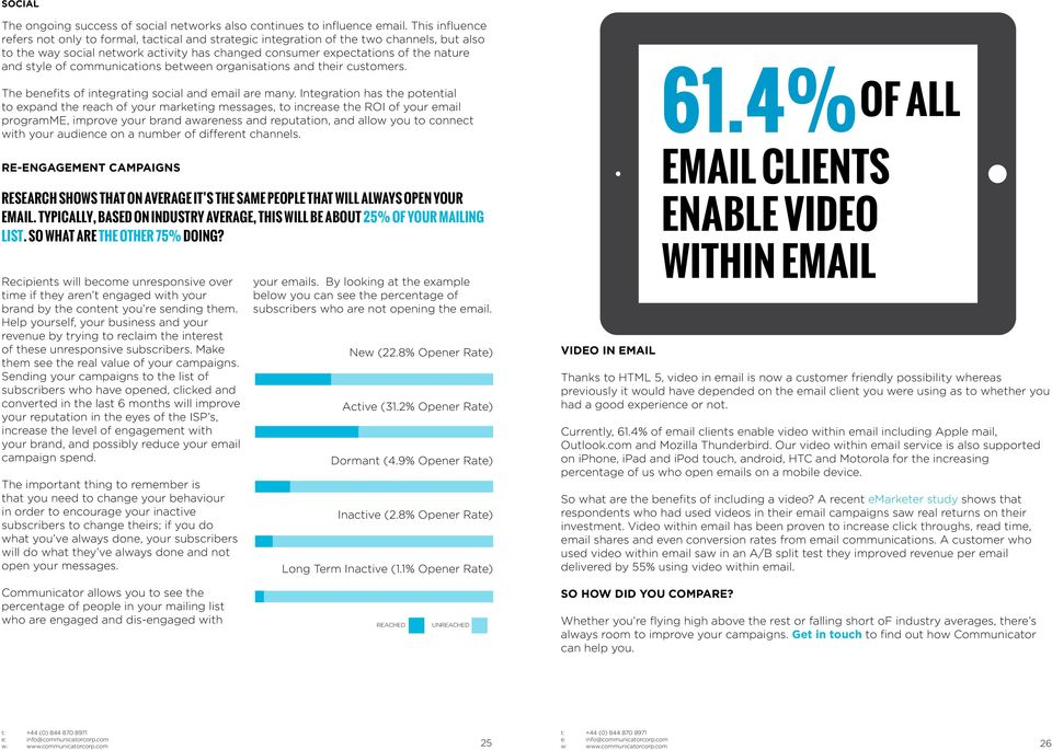 of communications between organisations and their customers. The benefits of integrating social and email are many.