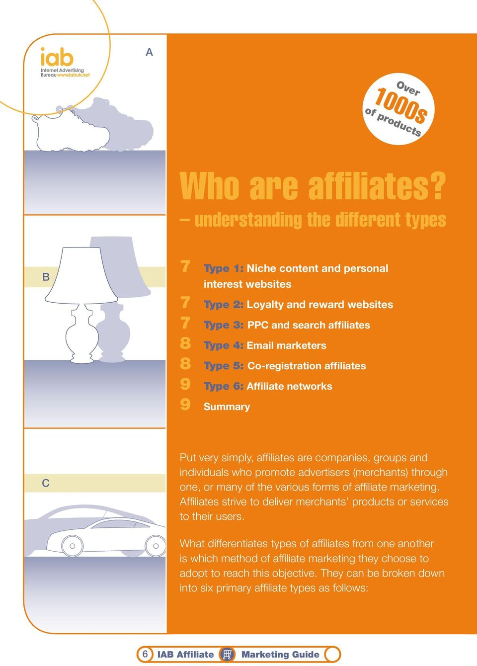 5: Co-registration affiliates 9 Type 6: Affiliate networks 9 Summary C Put very simply, affiliates are companies, groups and individuals who promote advertisers (merchants) through one, or many of